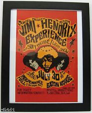 1968 JIMI HENDRIX EXPERIENCE CONCERT POSTER, IN BATON ROUGE, LA.- FRAMED