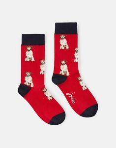 Joules Womens 215734 Single Pk Socks - Red Walkies Dog - Adult 4-8
