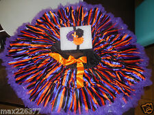 New Halloween tutu pettiskirt stripes black purple skirt set & headband 9-10 yrs