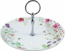 'In Bloom' Fine China Cake Stand with Decorative Gift Tag and Ribbon