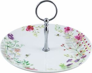 'In Bloom' Afternoon tea Fine China Cake Stand with Decorative Gift Tag & Ribbon
