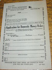 2 US Post Office Application for Domestic Money Order Blank Forms 1939 Form 6001