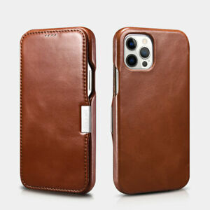 ICARER Genuine Leather Magnetic Style Folio Case for iPhone12/12 Pro Max