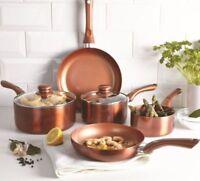 5 Piece Aluminium Premium Pan Set Copper Style Non-Stick Electric Gas Hobs NEW
