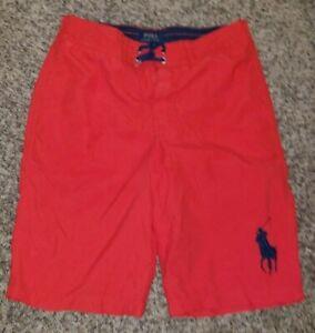 Polo Ralph Lauren Boys BIG PONY Swim Trunks Large 14 16 Red