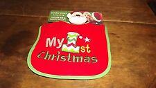 Tender Kisses Bib & Wrist Rattle Set Baby's First Christmas