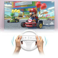 Racing Game Round Steering Wheel Remote Controller for Nintendo Wii (White)