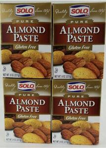 Solo Pure Almond Paste 8 oz (227gr) x 4 Gluten Free BB10/21+