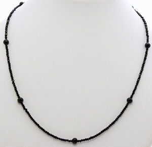 Spinel Necklace Precious Stone Faceted Black Designer Women's ca.18 1/2in