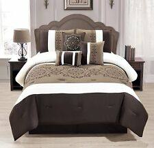 7 Pieces Complete Bedding Ensemble Brown taupe Victorian print Luxury Queen set
