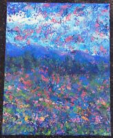 MOUNTAIN WILDFLOWERS Original Abstract Landscape Knife Painting 16x20 TEXTURE NR