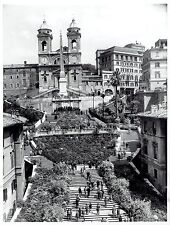 1957 Vintage Photo Rome Italy at Spanish Steps and Trinita dei Monti Church