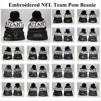Embroidered NFL Pom Pom Skull Beanie Cap Winter Warm Football Hat Pick All Team