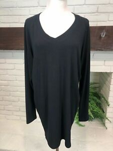 Cabi #125 V-neck Tunic Sweater, Size Medium Black V Neck