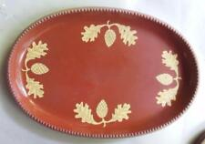 "Pottery Tray  12.5"" x 8.5""  Handmade Redware Oak Leaves and Acorns or Thistles"