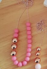 Handmade Acrylic Necklace Matte Dusty Rose Pink with 3 Rose Gold/Copper Beads