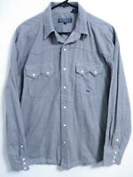 Roper Mens Medium Midnight Blue White Micro Plaid Western Snap Long Sleeve Shirt