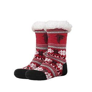 Atlanta Falcons Women's Fair Aisle Tall Logo Footy Slippers Size 6-10 Non Skid