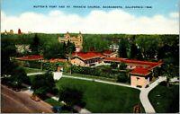 Vtg 1930's Sutter's Fort, St Francis Church, Sacramento California CA Postcard b