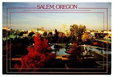 Salem Oregon Postcard Downtown City Hall Fall Colors Leaves Capitol Unposted