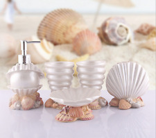Bathroom Resin Conch Accessories Set 5 Pcs Dish Dispenser Soap Toothbrush Holder