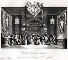 William Hogarth: The Masquerade Ticket. Satira. ACCIAIO. Steel Engraving. 1850