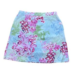 Lily's Of Beverly Hills Golf/Tennis Skort Floral Size 10 Aqua USA Made