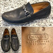 COACH Benjamin Men's Penny Loafer Black Leather Horsebit Made In Italy Size 10 D