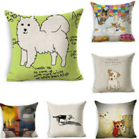 Animation Dog Sofa Pillow Case Cotton Linen Throw Cushion Cover Home Decor 18""