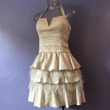 BEBE Rowen Feather Party Dress Cream Color M BEAUTIFUL Halter or Strapless