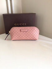 Gucci Pink GG Microguccissimo Leather Zip Around Make up Bag