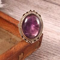 Amethyst Solid 925 Sterling Silver Ring , Handmade Gemstone Ring Size 7.5 - R1