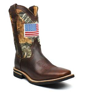 Men's Genuine Leather Camo Western Cowboy Boots Rodeo Square Toe Botas Vaqueras