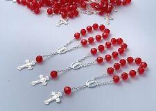 25 Pc Mini Rosary SILVER PLATED RED Baptism Favors/ Recuerdos De Bautizo Rojos