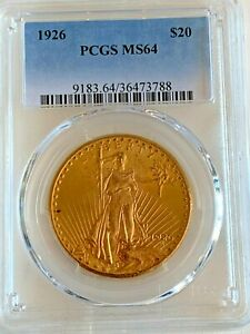 1926 $20 St Gaudins double eagle gold coin PCGS MS64