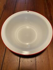 Vintage Large Enamel Ware Bowl Basin Wash Bowl 12.5 Inches, White with Red Rim