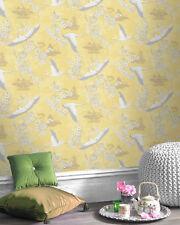 Rasch Birds Flowers Floral Temple Oriental Metallic Shiny Wallpaper