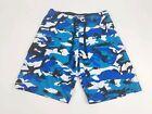 Pelagic Fish Camo Shorts Sz 28/29 Blue, Black & White Board Swim Trunks.