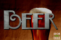 BEER SCRIPT -- Metal Bar Sign Wall Art Man Woman Cave Decor Tavern Pub