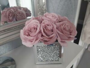 Luxury crushed diamond mirrored cube with beautiful pink/grey Rose's home decor