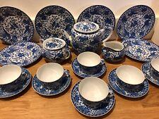 Noritake Howo Phoenix Porcelain Blue & White Oriental Japanese 21 Piece Tea Set