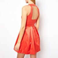 RARE KAREN MILLEN CORAL BACKLESS ZIP PLEAT DRESS SIZE 10 8 WEDDING ORANGE PARTY