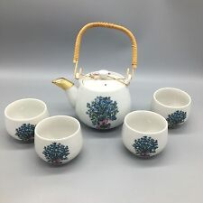Takahashi Japanese Tea Pot 4 Cup Set Forget Me Not Floral Teapot San Fran AS-IS