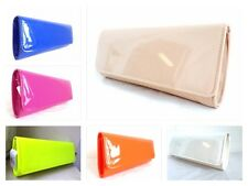 NEW NUDE NEON YELLOW RED ORANGE BLACK WHITE BLUE PATENT EVENING CLUTCH BAG