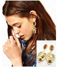 New Fashion Golden Metal Big Solid Lion Head Dangle Brown Crystal Earring Stud
