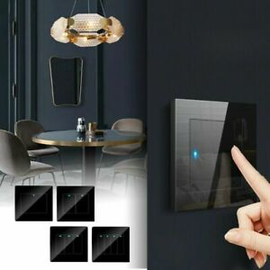 Fashion Home Wall LED Indicator Light Switch Glass Panel Push 1/2/3/4 Gang