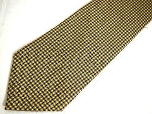 "Brooks Brothers Makers Mens Necktie Tie Yellow Navy Blue Geometric Silk 60"""