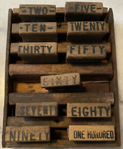 Antique Rubber Wood Ink Stamp Lot Of 11 Numbers 2/5/10/20/30/50/60/70/80/90/100
