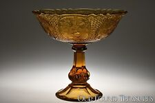 c. 1935 FLOWER MEDALLION AND FINE CUT by Strombergshyttan AMBER Open Compote
