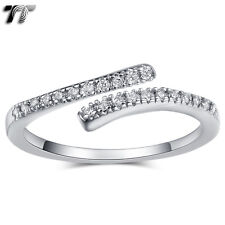 TT 18K White Gold GP Paved CZ 0.5mm Wedding Cuff Band Ring Size 4-8 (RF106) NEW